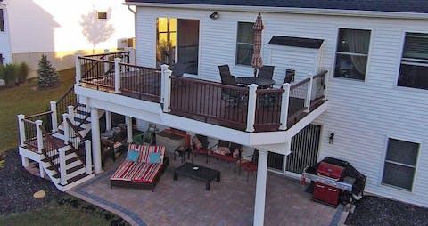 Walkout Basement Deck Over Walkout Patio Woodland Deck